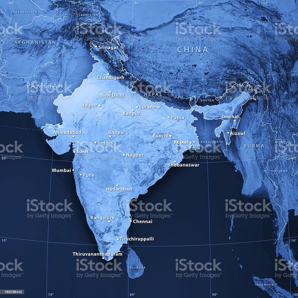 India Cities Topographic Map stock photo