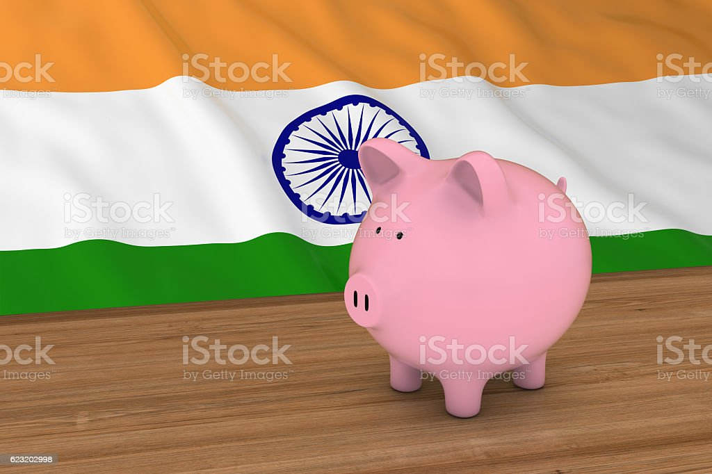 India Finance Concept - Piggybank in front of Indian Flag stock photo