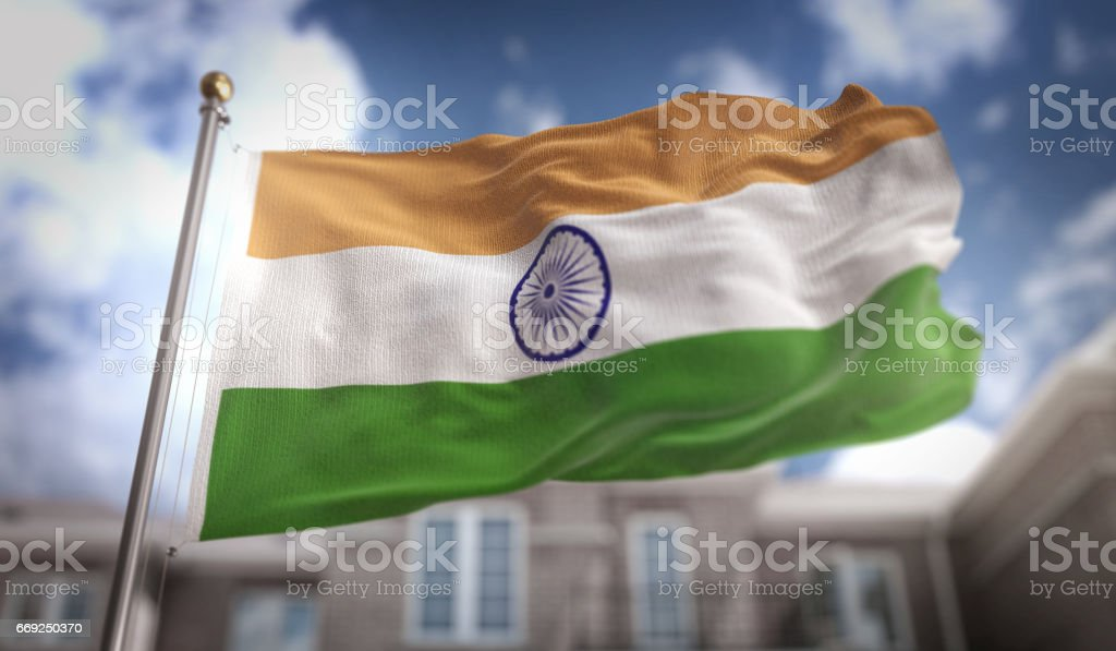 India Flag 3D Rendering on Blue Sky Building Background stock photo