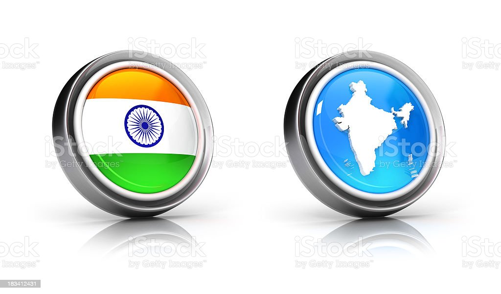 India flag & map icons royalty-free stock photo