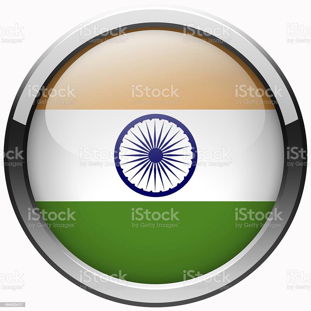 india flag gel metal button stock photo