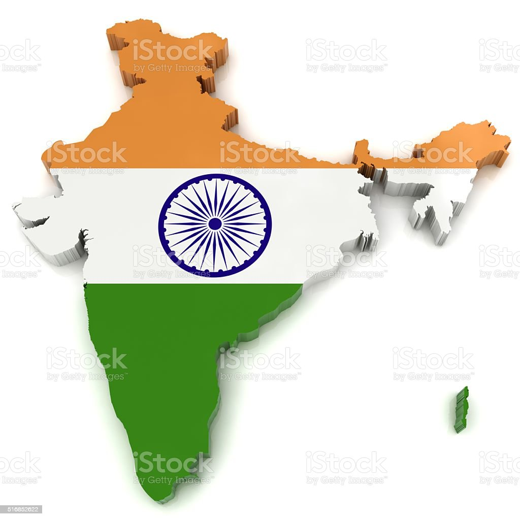 India flag map stock photo