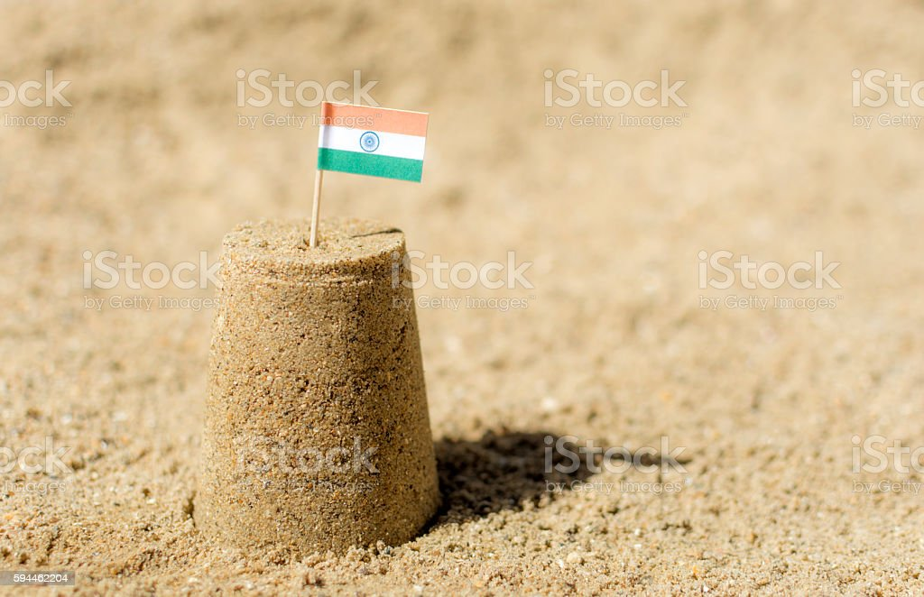 India Flag Sandcastle Beach Travel stock photo