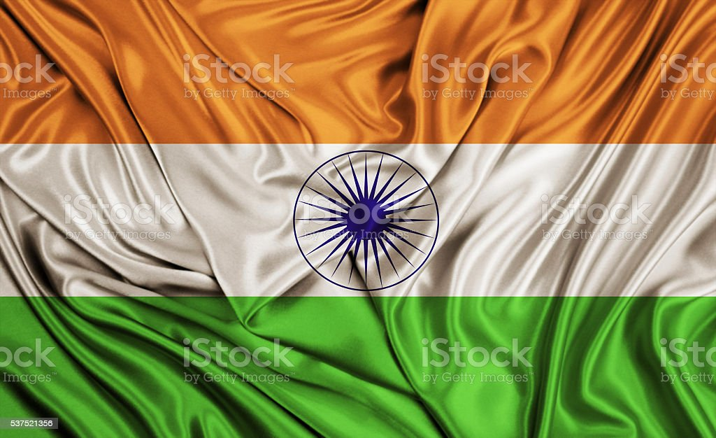 India flag - silk texture stock photo