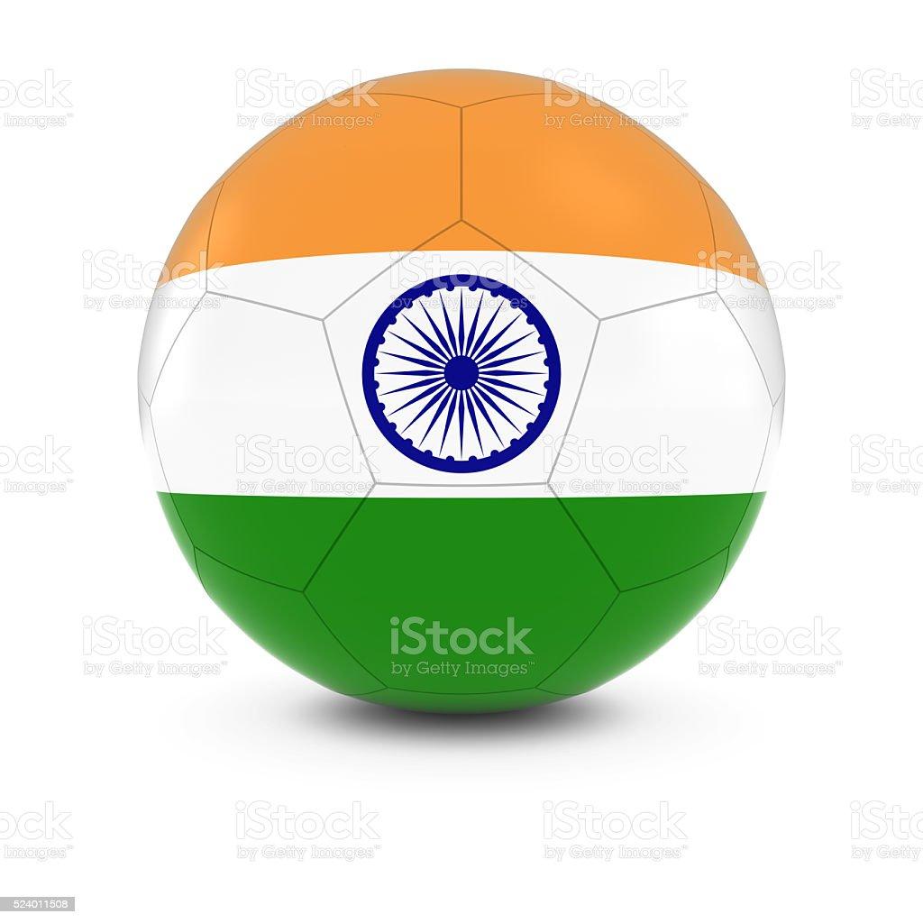 India Football - Indian Flag on Soccer Ball stock photo