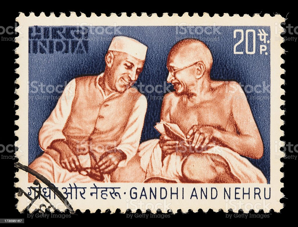 India Gandhi and Nehru postage stamp royalty-free stock photo