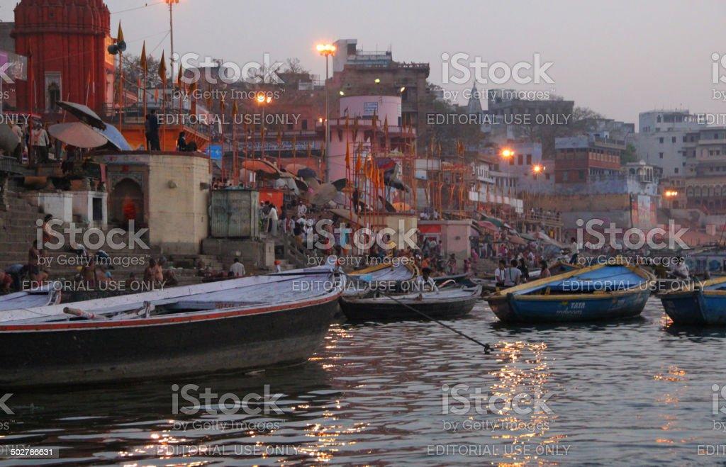 India: Ganges River at Sunrise in Varanasi stock photo