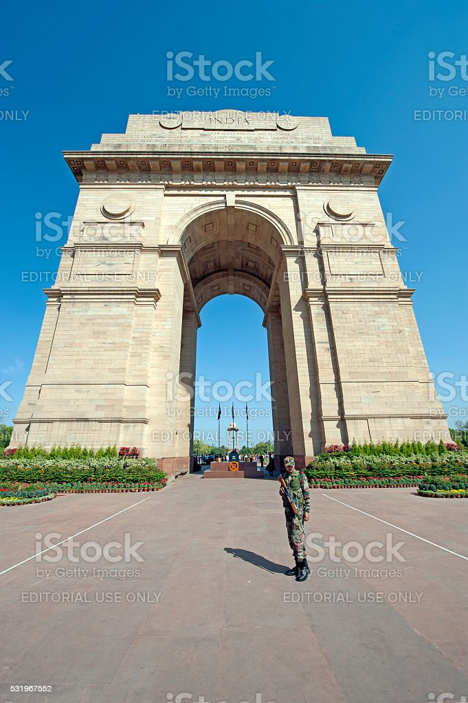 India Gate and guard, Delhi, India stock photo