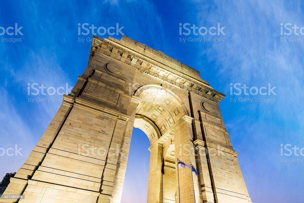 India Gate at New Delhi and blue cloudy sky background stock photo