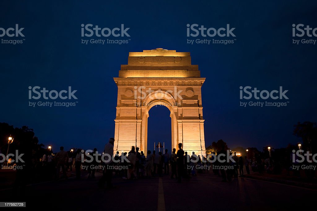 India Gate at Night stock photo