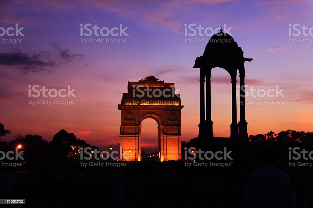 India Gate Delhi, Illuminated Dusk Scene stock photo