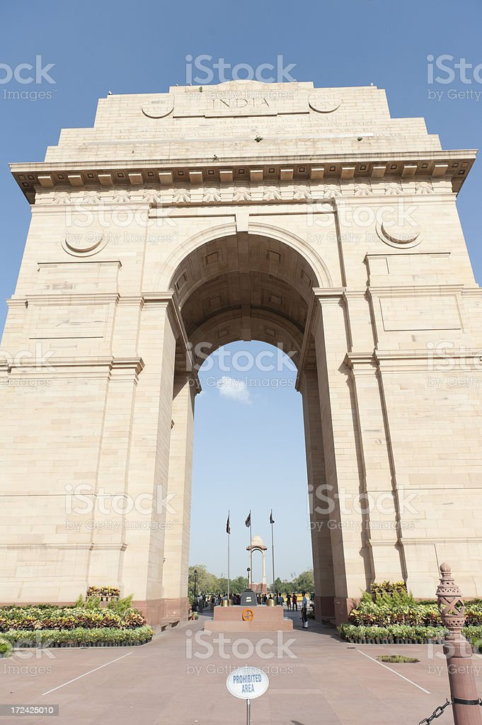 india gate, downtown Delhi royalty-free stock photo