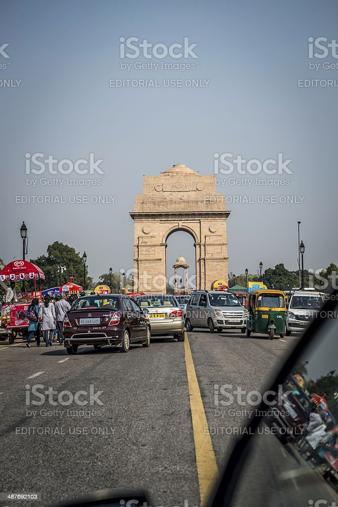 India Gate from Rajpath, New Delhi stock photo