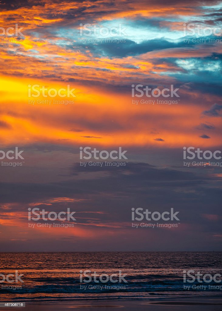 India, Goa . Amazing , world-famous Sunset on the Beach Colva . stock photo