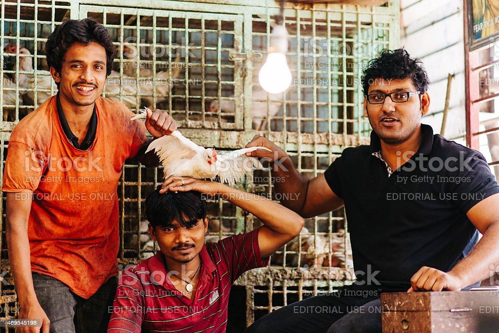 India: Kolkata Chicken Market stock photo