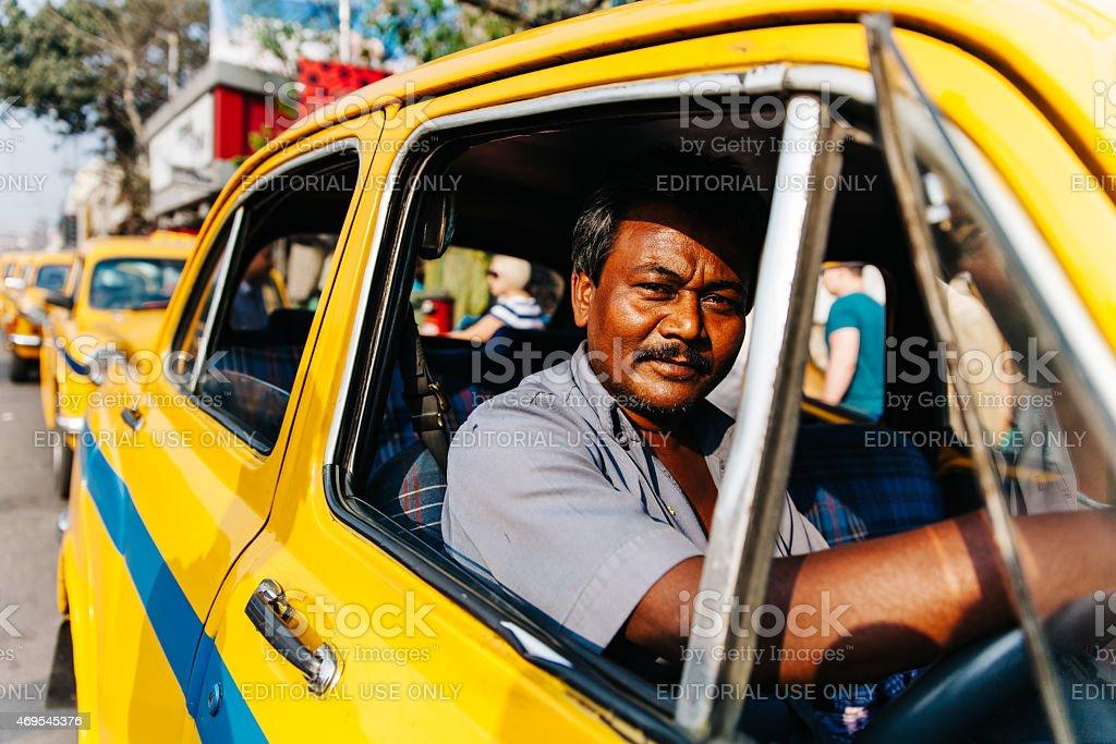 India: Kolkata Taxi Driver stock photo