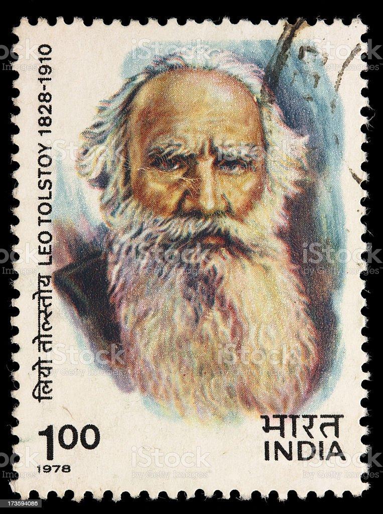 India Leo Tolstoy postage stamp stock photo