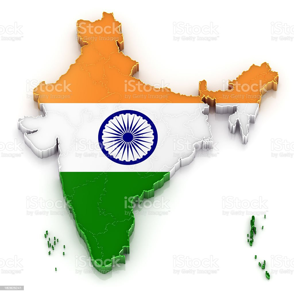 India map with flag stock photo
