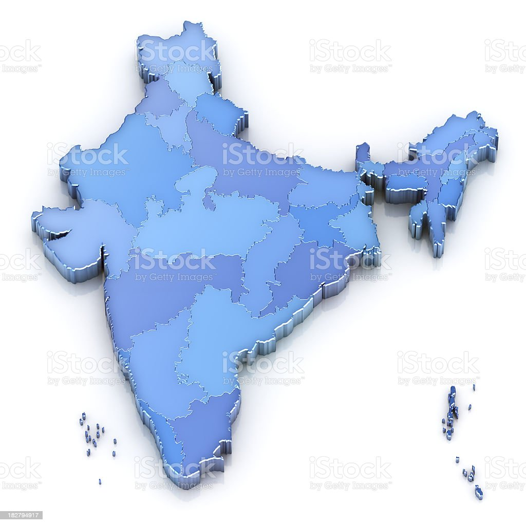 India map with states stock photo