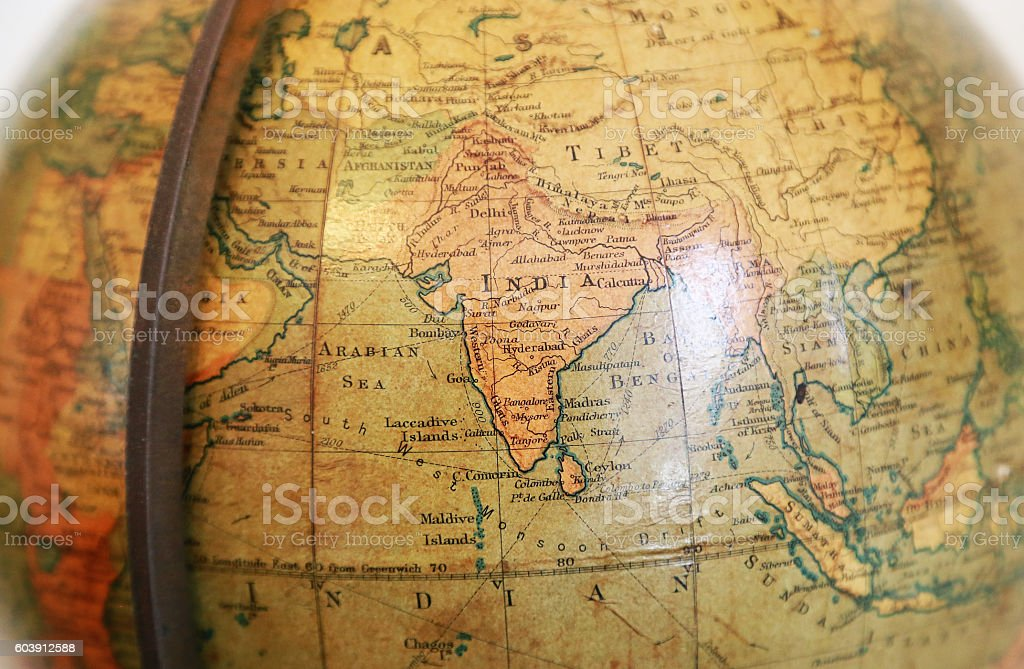 India of the old terrestrial globe stock photo
