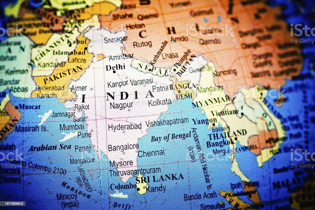 India on Globe stock photo