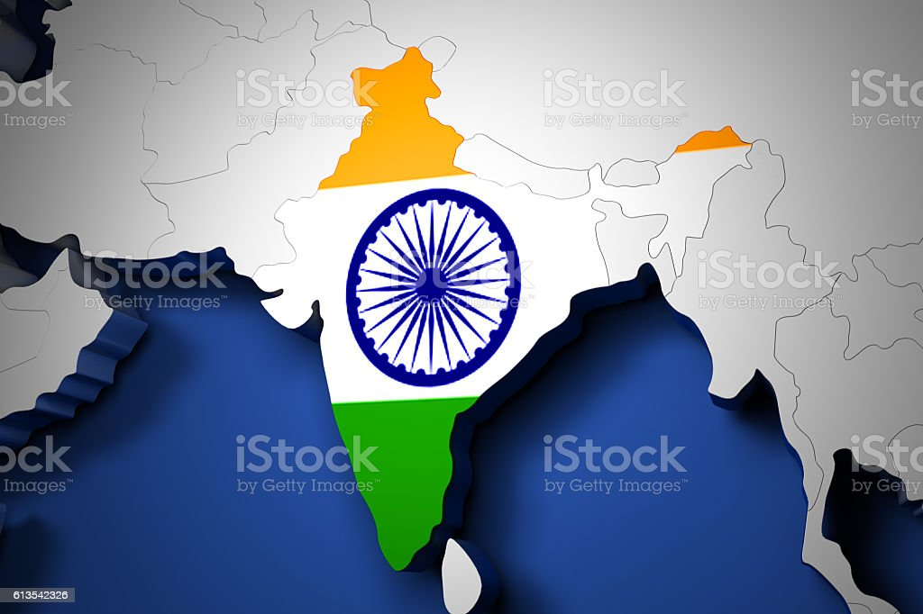 India on the world map 3d render stock photo