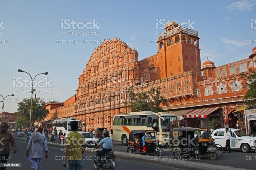 India: Palace of Winds (Hawa Mahal) in Jaipur stock photo