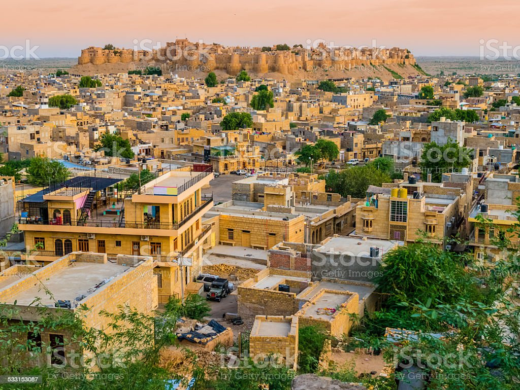 India, panoramic view of Jaisalmer Fort, the golden city stock photo