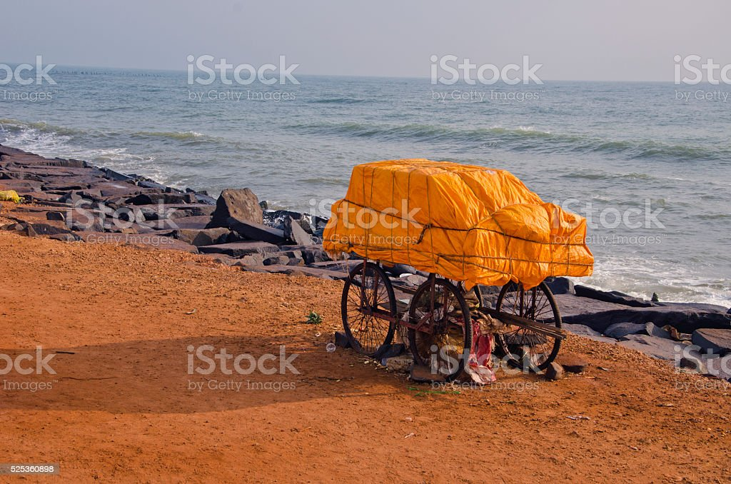 India, Puducherry, mobile stall wagon by the sea stock photo