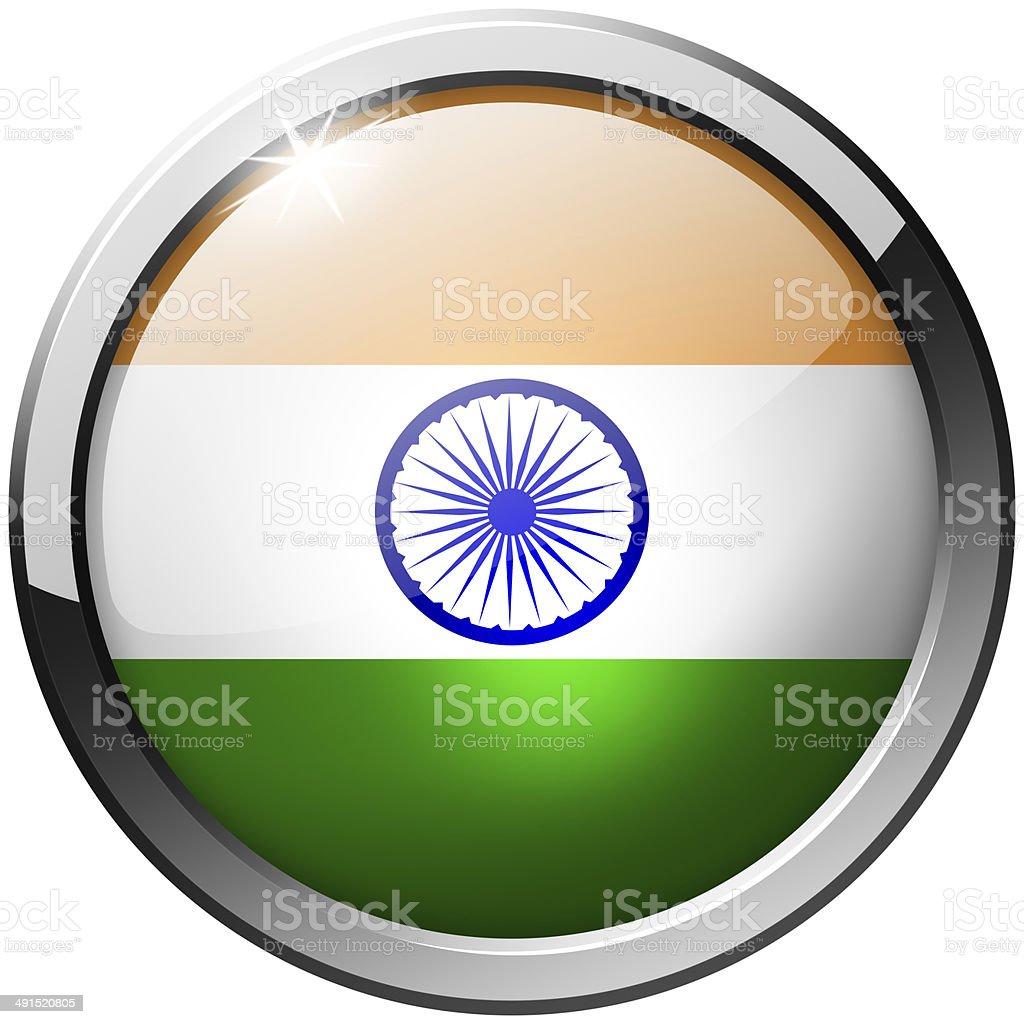 India Round Metal Glass Button stock photo