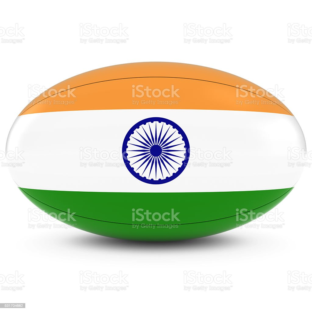India Rugby - Indian Flag on Rugby Ball on White stock photo