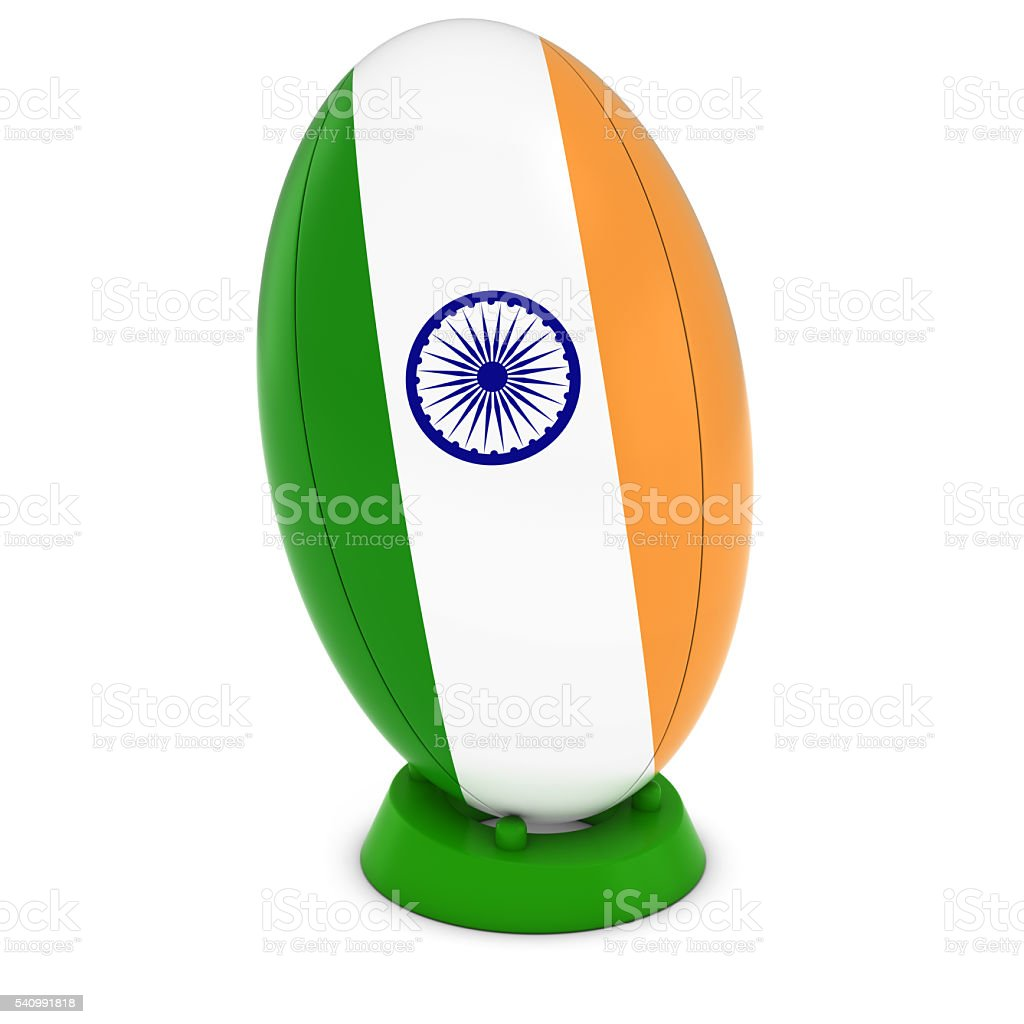 India Rugby - Indian Flag on Standing Rugby Ball stock photo