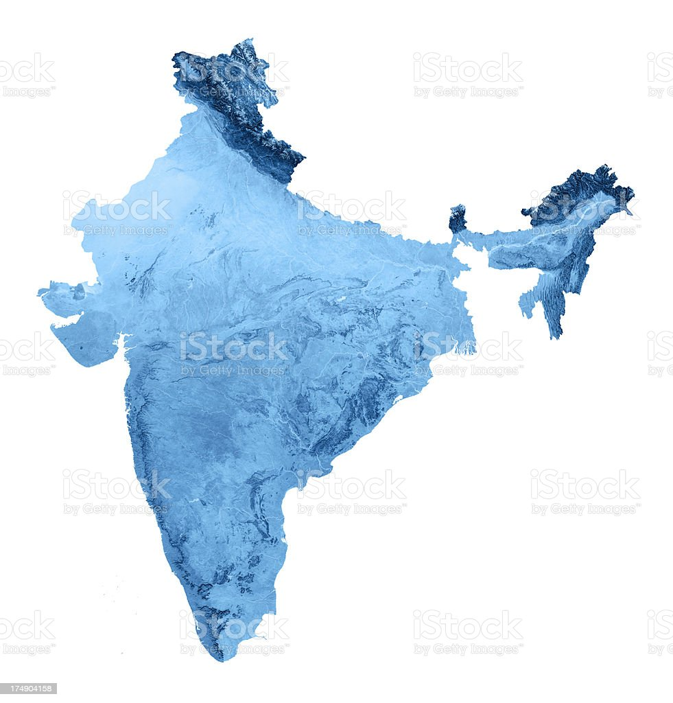 India Topographic Map Isolated royalty-free stock photo