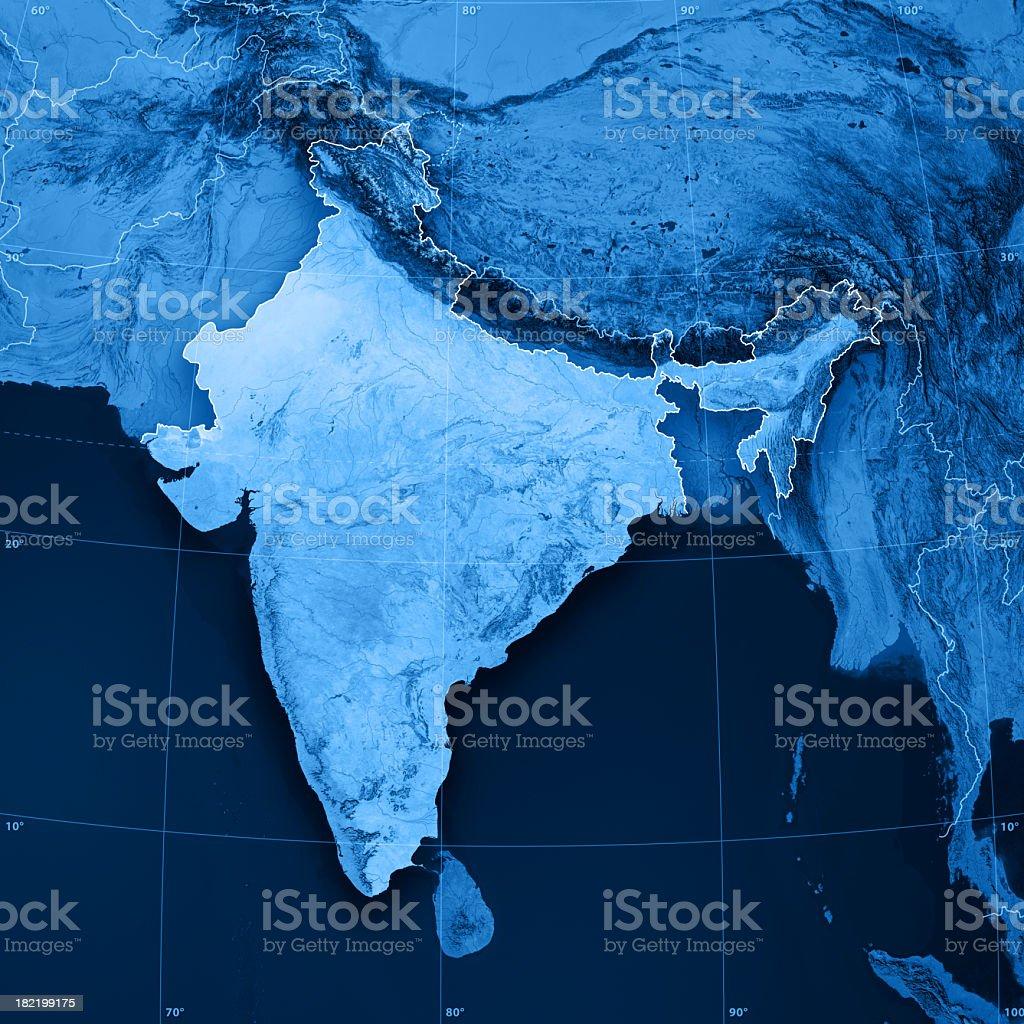 India Topographic Map stock photo