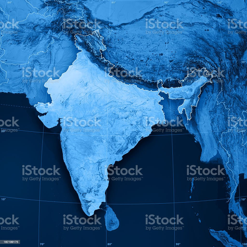 India Topographic Map stock photo