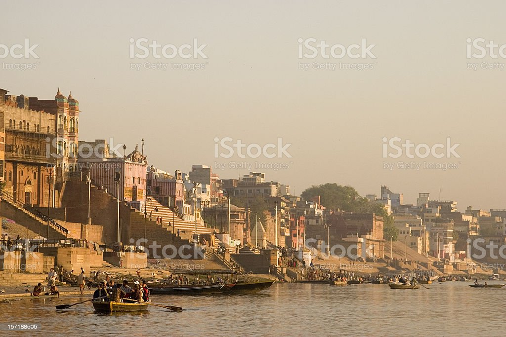 India: Varanasi, Ghats on the Ganges River royalty-free stock photo