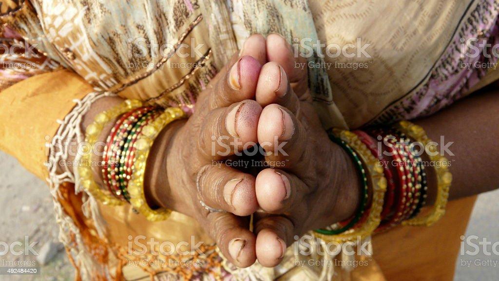 India woman namaste Hands stock photo