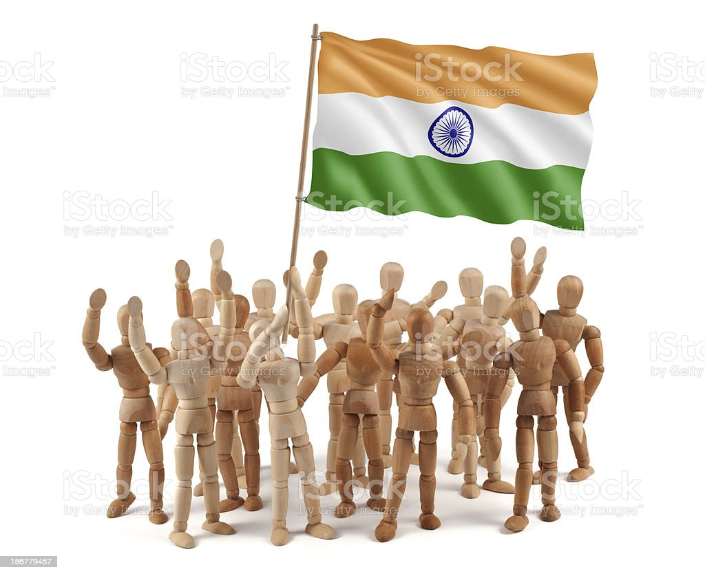 India - wooden mannequin group with flag royalty-free stock photo