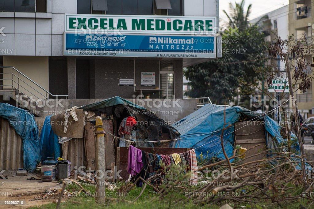 India_city_shack stock photo
