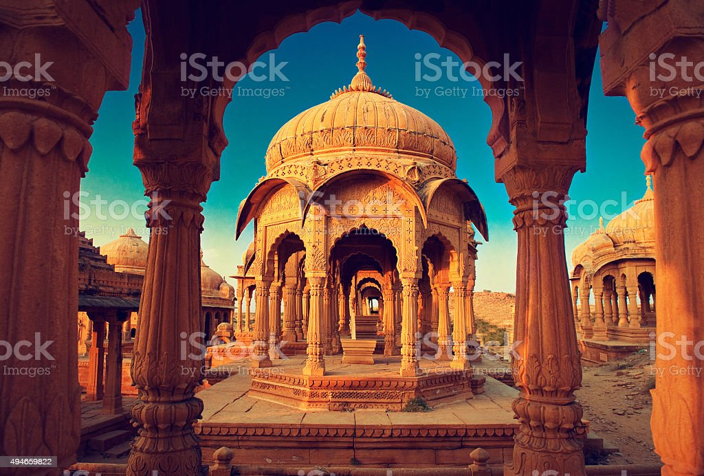 India,Bada Bagh cenotaph in Jaisalmer, Rajasthan stock photo