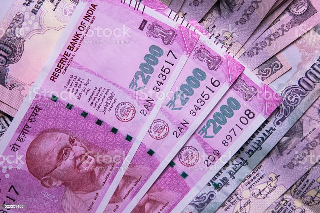 Indian 2000 Rs Currency Note stock photo