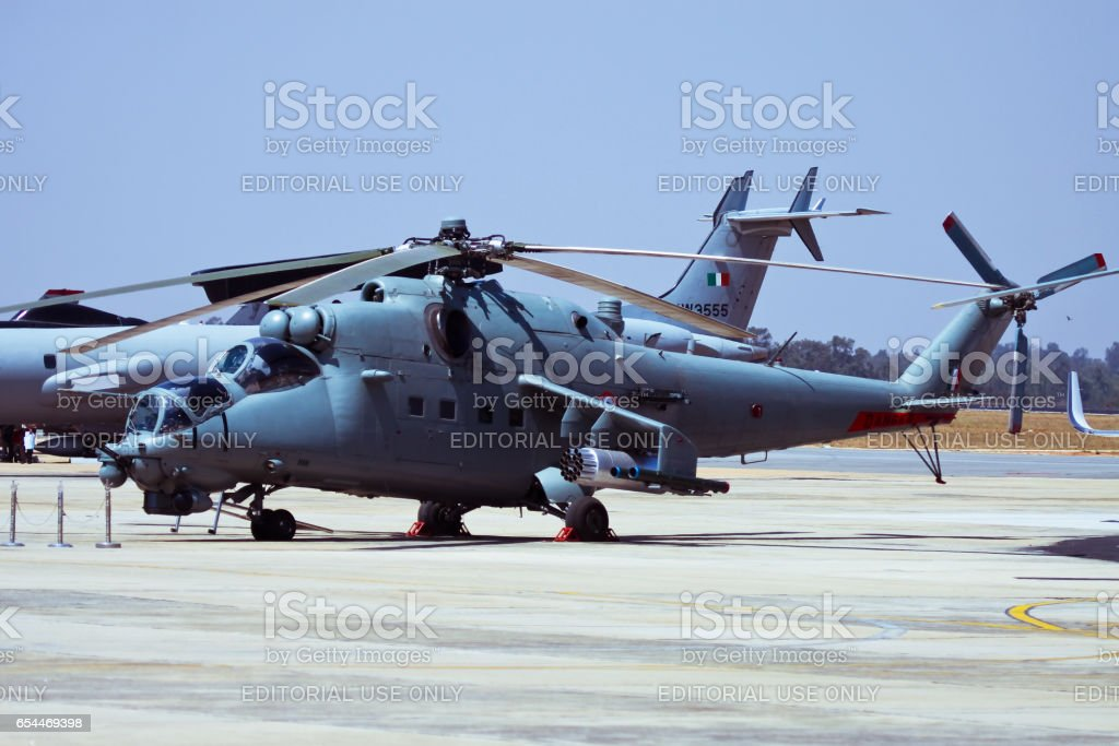 Indian Air Force Mi-25 hind on display at Aero India stock photo