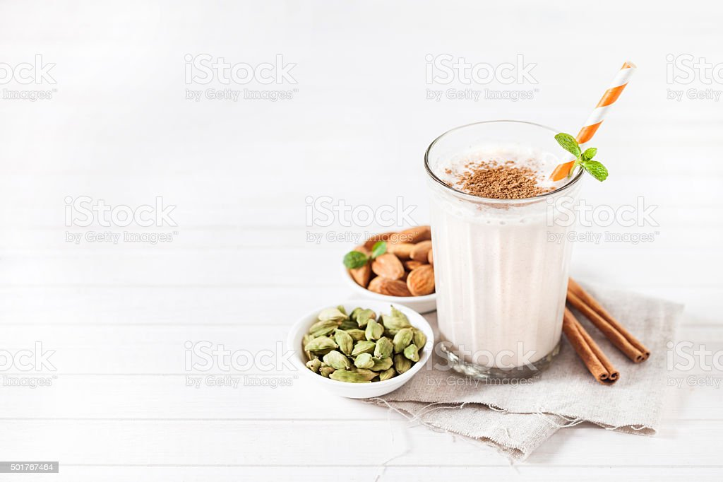 Indian almond lassi beverage stock photo