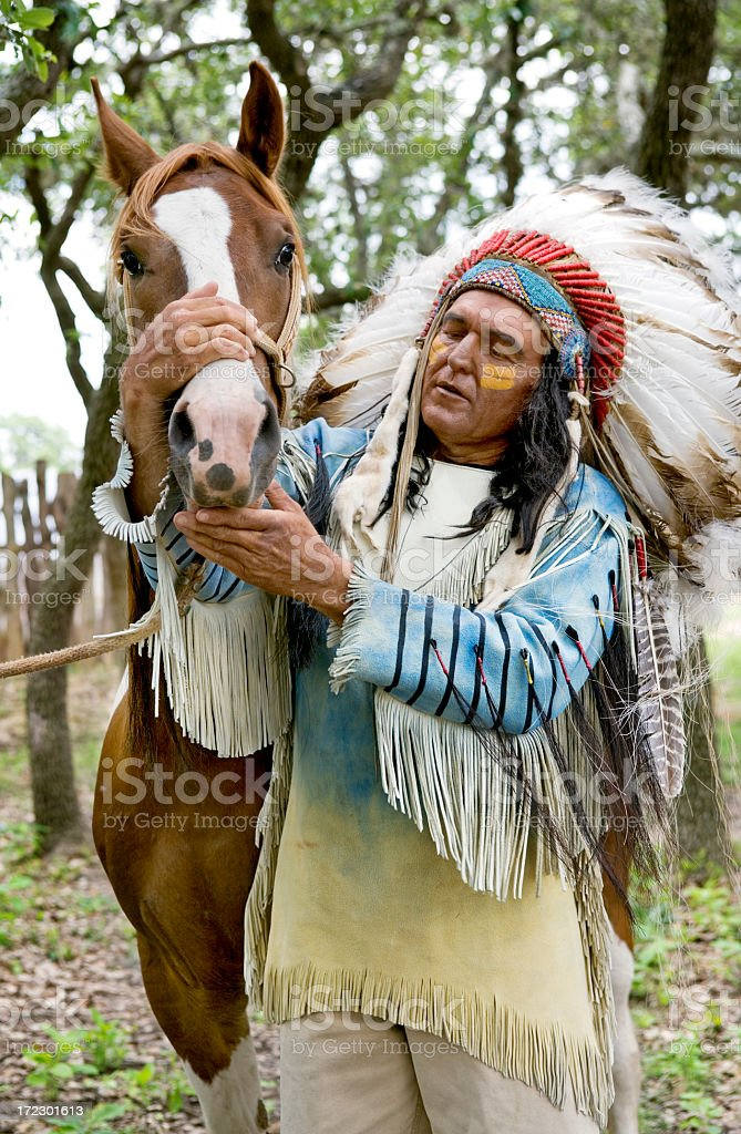 Indian and his Horse stock photo