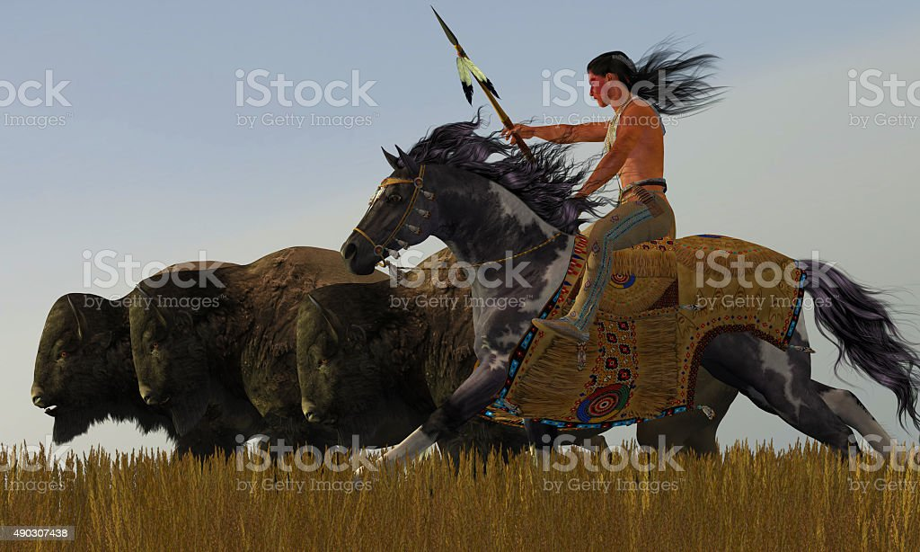 Indian and Paint Horse stock photo