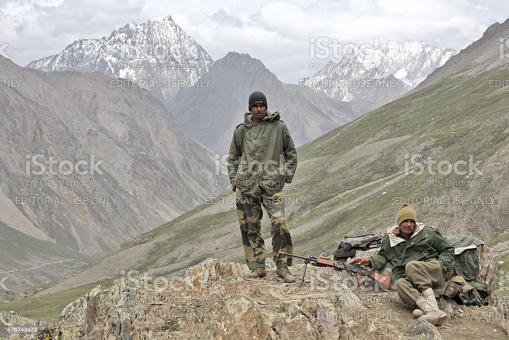 Indian Army personnel in Kashmir Himalayas stock photo