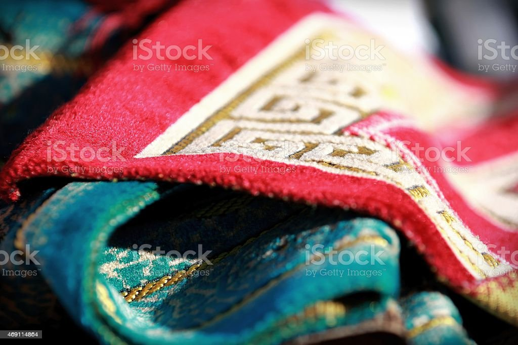 Indian asian colorful rugs fabric background at culture festival market stock photo