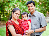 Indian Asian family with one child