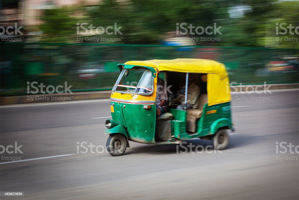 Indian auto (autorickshaw) in the street. Delhi, India stock photo