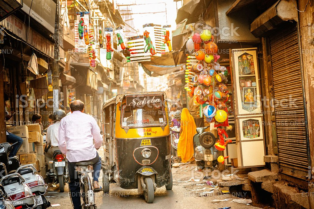 Indian Auto Rickshaw in the narrow streets of Jodhpur stock photo